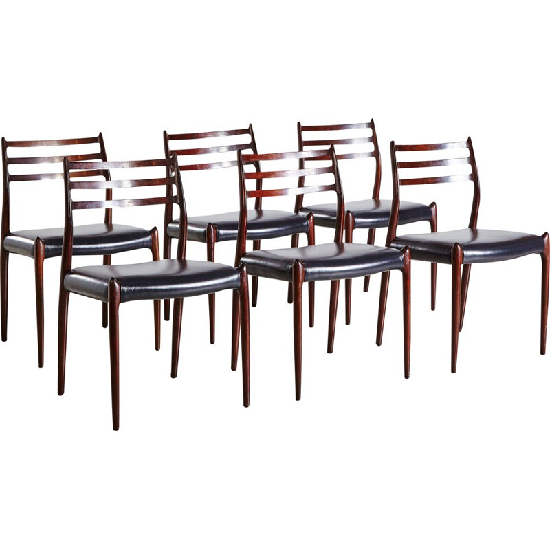 Set of 6 vintage Modell 78 Rosewood Dining Chairs by Niels Otto Moller for J.L. Mollers Møbelfabrik 1960s