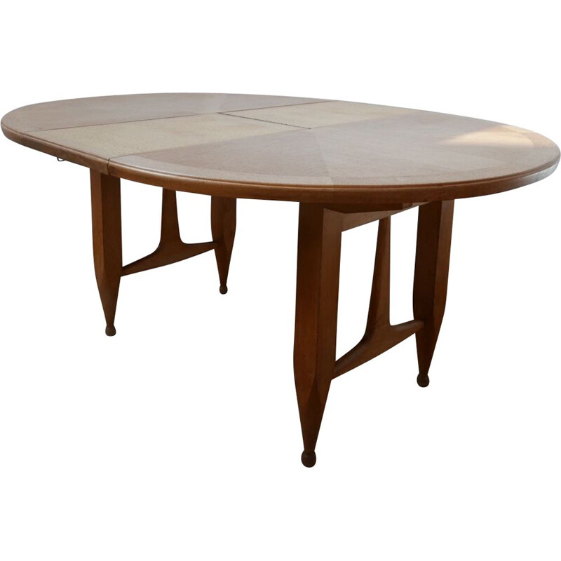 Vintage Oak Circular Extendable Dining Table by Guillerme et Chambron, France 1970s