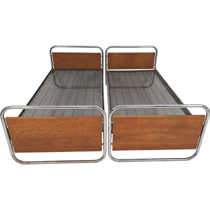 Vintage Art Deco Chrome Beds 1950s