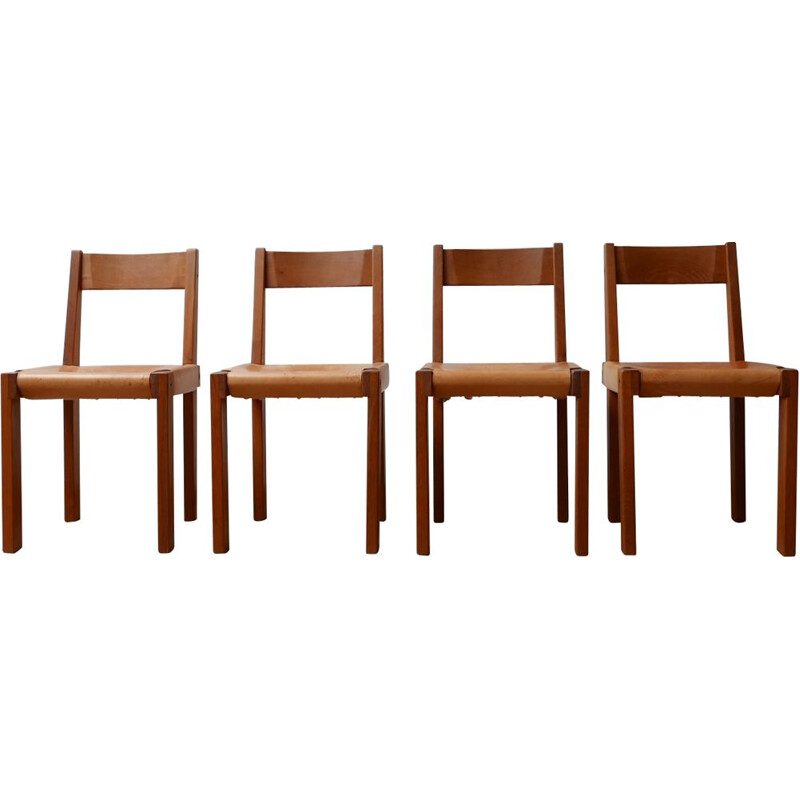 Set of 4 vintage S24 Elm and Leather Dining Chairs by Pierre Chapo, French 1970s