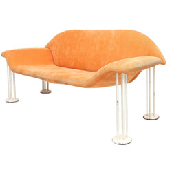 Sofa in orange salmon velvet - 1960s