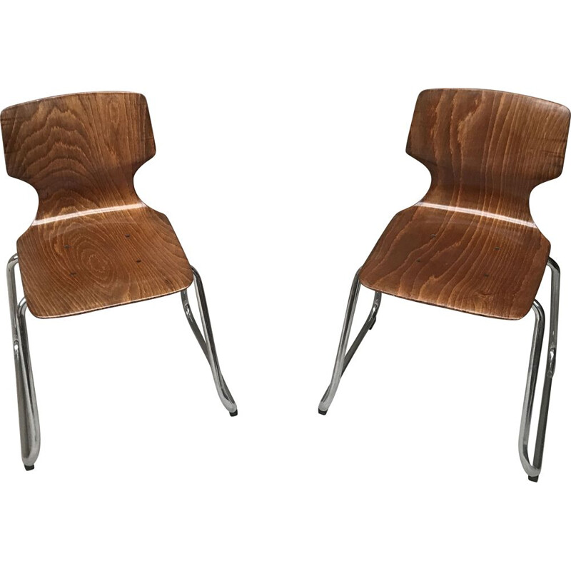 Pair of vintage children's chairs Flototto by pagholz 1960s
