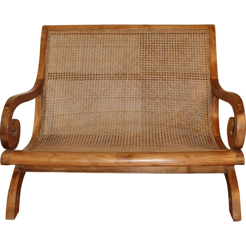 Vintage bench in solid wood and cane