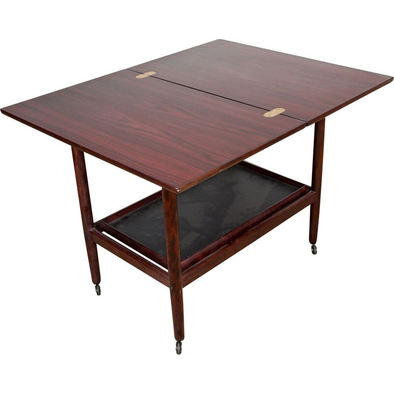 Vintage mahogany double tiered extendable trolley table by Grete Jalk for P.Jeppesen, Denmark 1960s