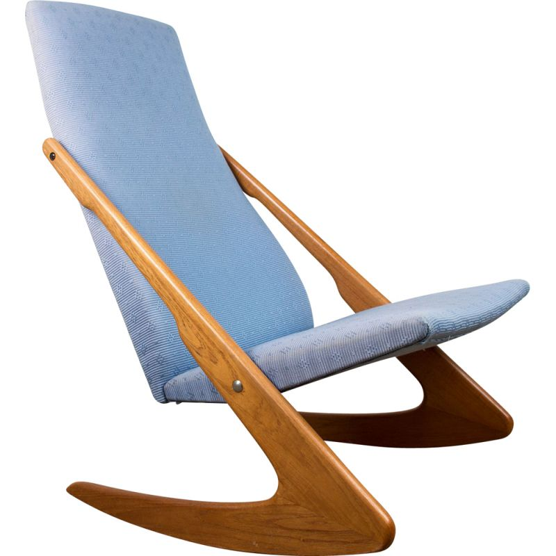 Large vintage teak and fabric rocking chair, Danish 1960s