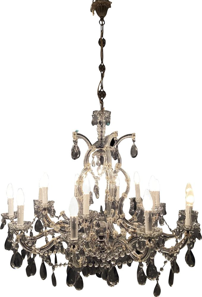 Large Vintage Crystal Murano Chandelier, How To Take Down Old Chandelier