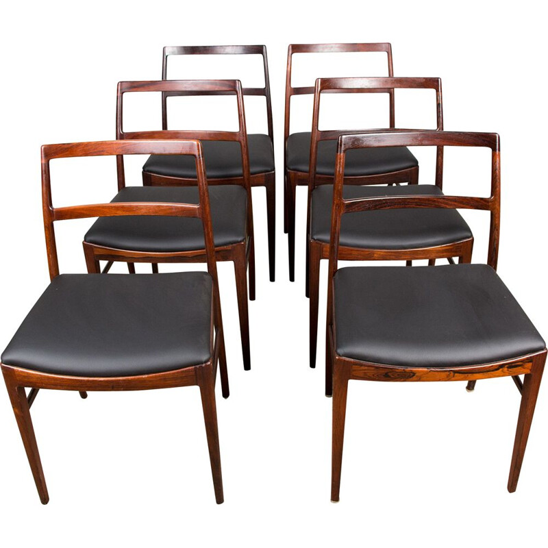 Set of 6 vintage Rio rosewood chairs model 420 by Arne Vodder for Sibast, Danish 1960s