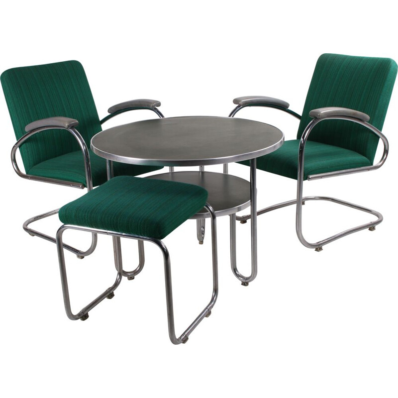 Pair of vintage armchairs Bridge with table and footstool by Mauser,Bauhaus  Germany 1930s