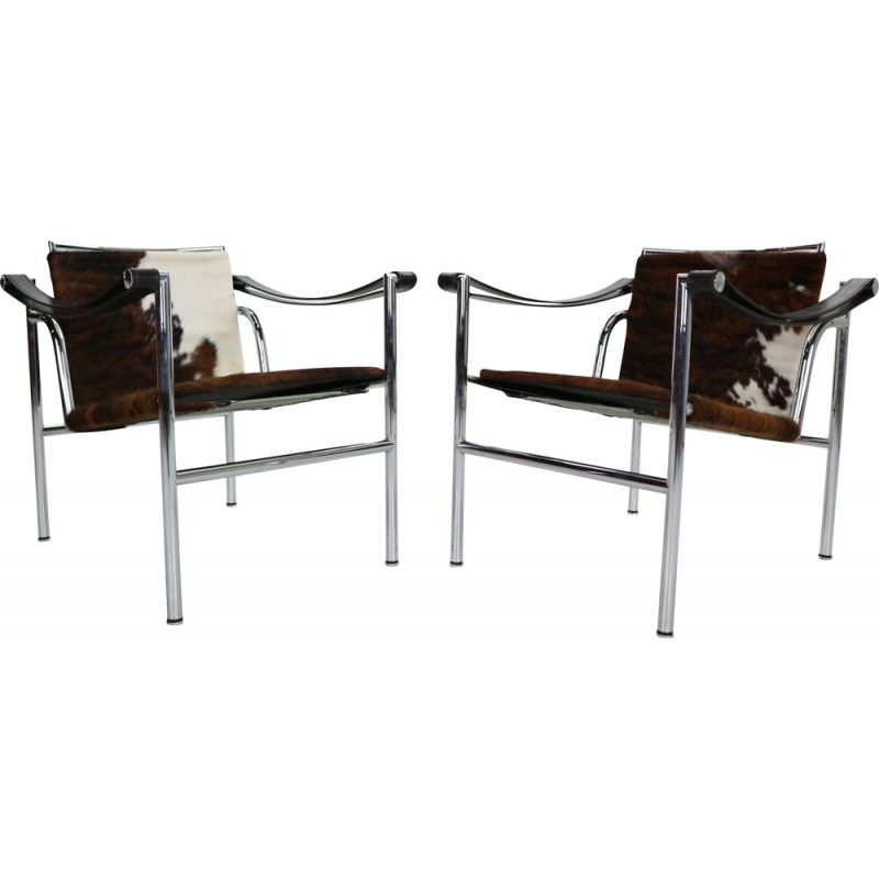 Pair of vintage Pony Skin Armchairs Model-LC1 Le Corbusier for Cassina, Italy 1970s