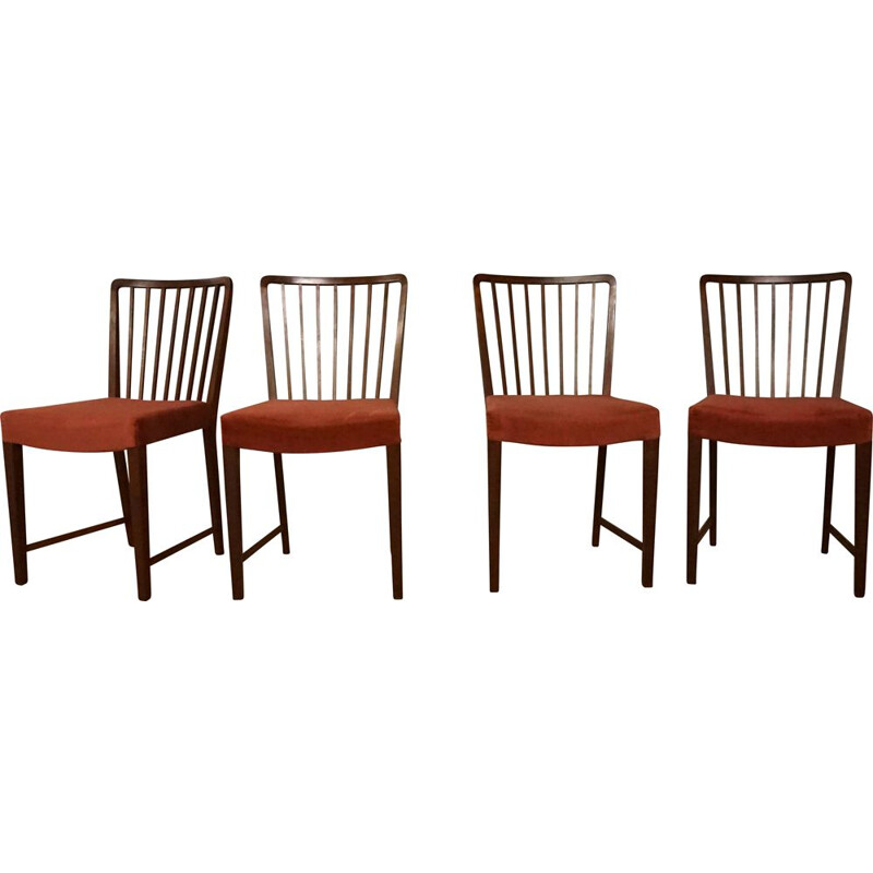 Set of 4 vintage Teak 1666 Dining Chairs by Ole Wanscher for Fritz Hansen