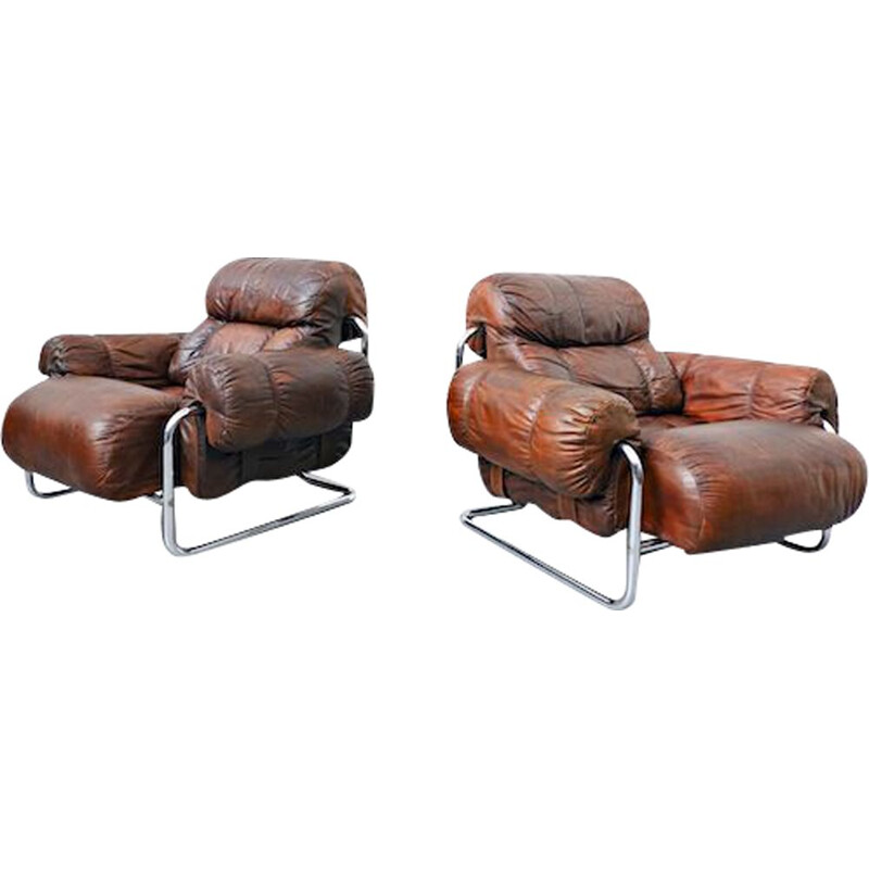 "Pair of vintage ""Tucroma"" Armchairs By Guido Faleschini Leather, Italian"