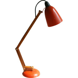 Desk lamp in wood and orange lacquered metal, Terence CONRAN - 1960s