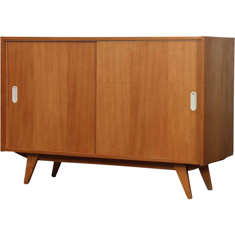 Vintage chest of drawers model U-452 with sliding doors by Jiri Jiroutek 1960s