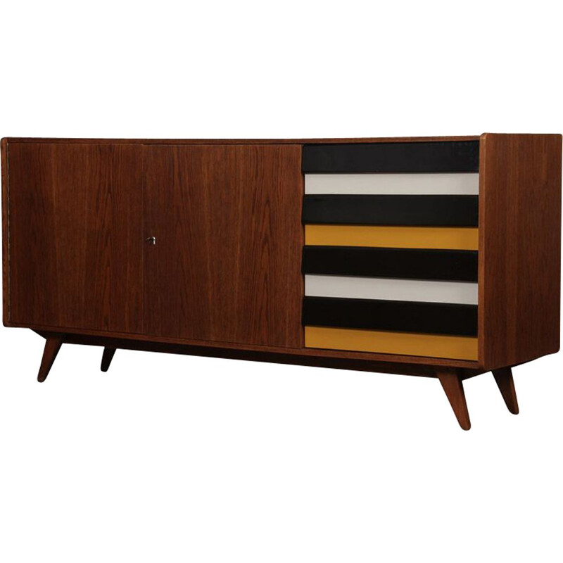 Vintage yellow and black U-460 sideboard by Jiri Jiroutek for Interier Praha 1960