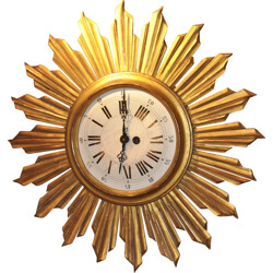 Mid-century sun wall clock in gold colored wood - 1950s