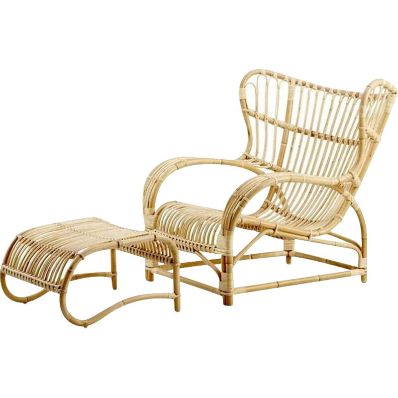 Vintage rattan armchair and matching ottoman by Viggo Boesen 1930s