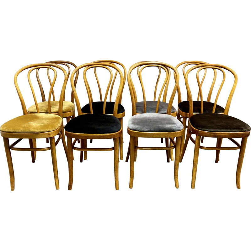 "Set of 8 vintage bistro chairs ""Thonet"" in beech 1950s"