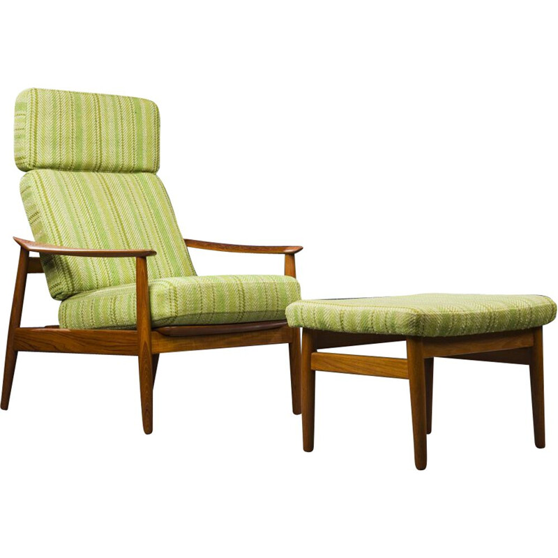 Vintage Model FD164 Armchair Chair and Ottoman Set by Arne Vodder for France & Son, Danish 1960s