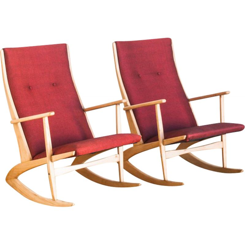 Pair of vintage rocking chairs by H. G. Jensen for the Kubis collection by Tonder Mobelvaerk, Denmark 1960s