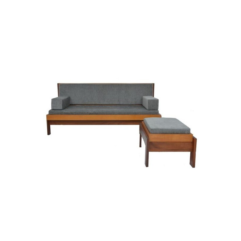 2-seater sofa and daybed with ottoman in grey velvet - 1960s