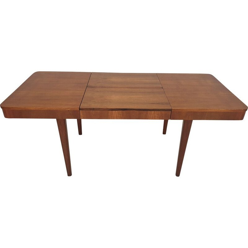 Vintage walnut dining table by Jindřich Halabala for UP Závody, Czechoslovakia 1950