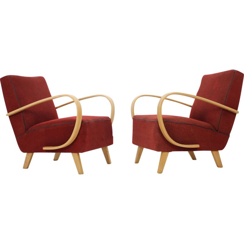 Pair of vintage red armchairs by Jindřich Halabala, Czechoslovakia 1950