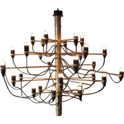 Mid-century chandelier in gold colored brass and iron, Gino SARFATTI - 1990s