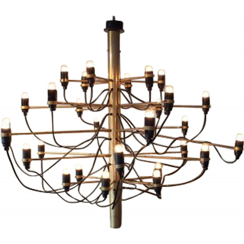 Mid Century Chandelier In Gold Colored Brass And Iron Gino Sarfatti 1990s