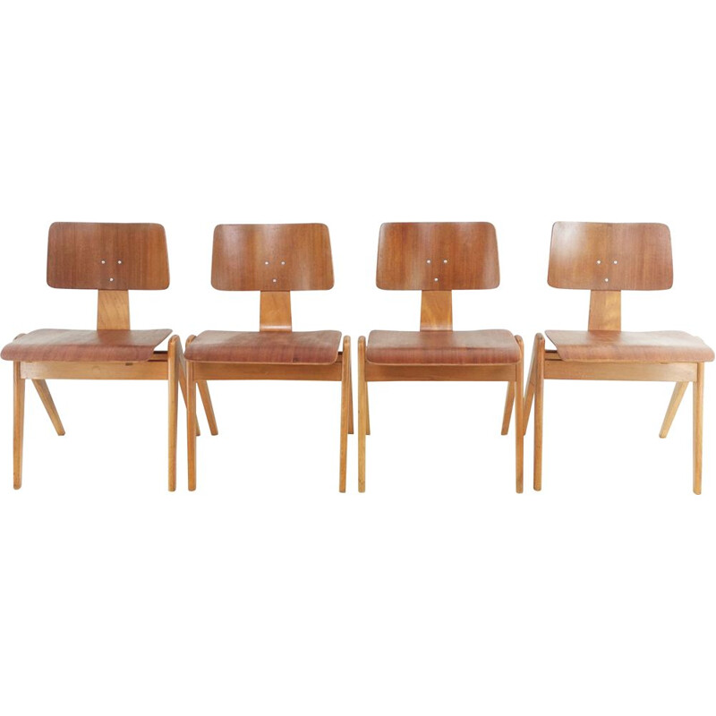 Set of 4 vintage Robin Day Hillestak Dining Chairs for Hille 1950s