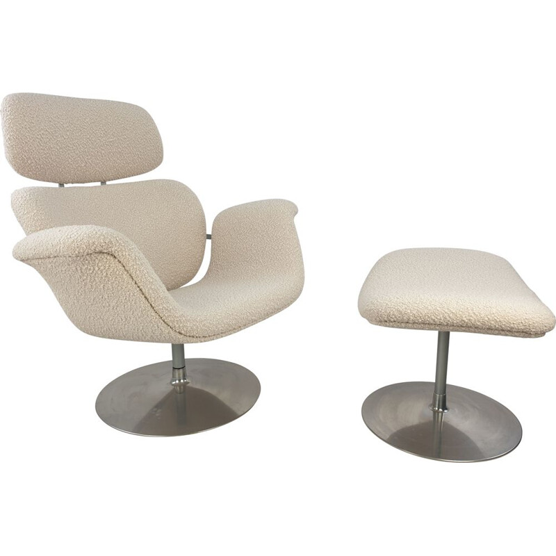 Vintage Big Tulip Chair and Ottoman by Pierre Paulin for Artifort 1980s