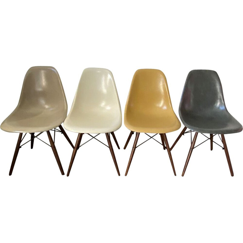 "Set of 4 vintage Herman Miller ""DSW"" grey elephant walnut chairs by Charles & Ray Eames 1950s"