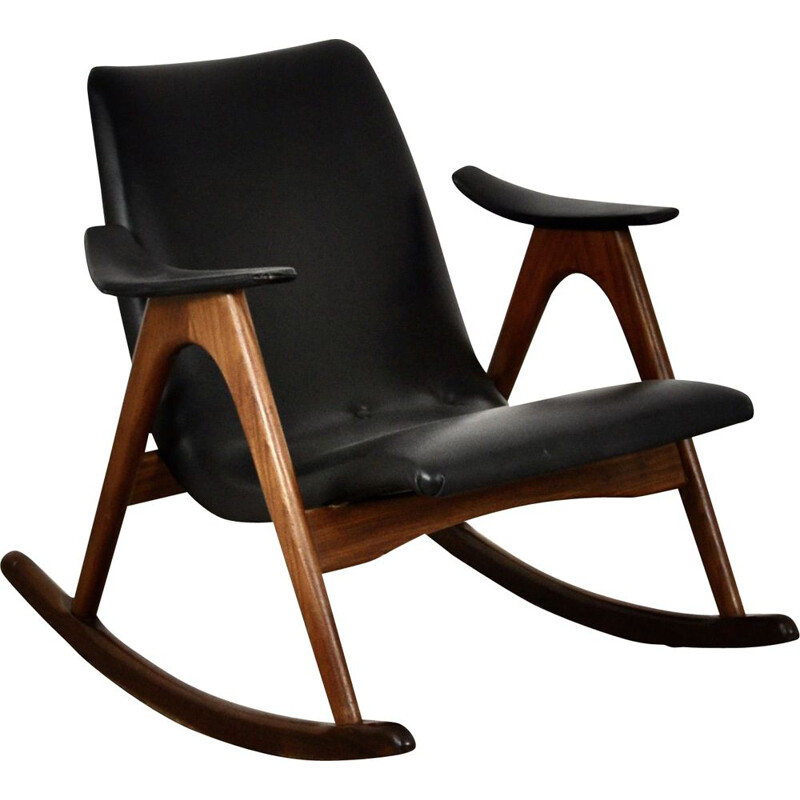 Vintage Rocking Chair by Louis Van Teeffelen 1960s