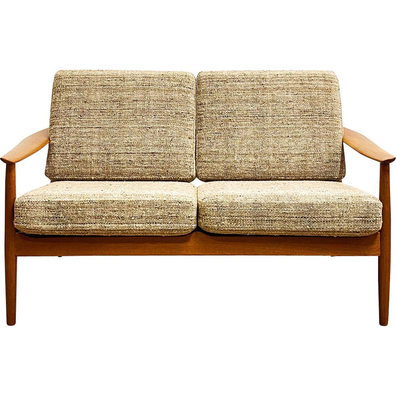 Vintage teak two-seater sofa by Arne Vodder for France and Son, Denmark 1950s