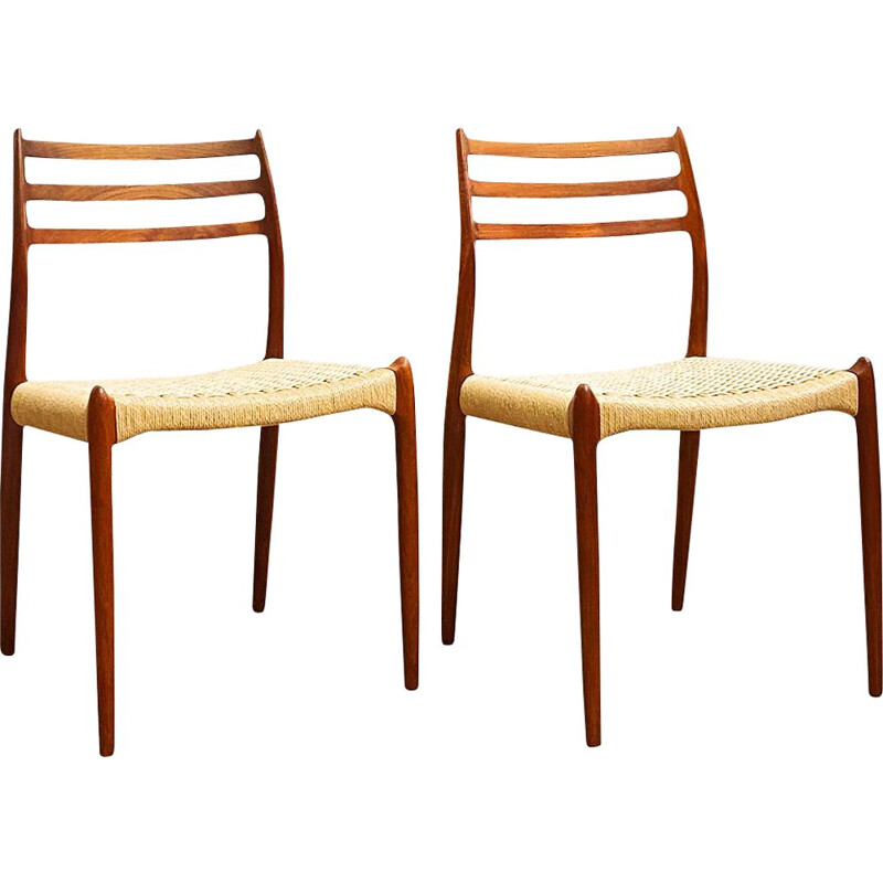 Pair of vintage teak dining chairs Model 78 by Niels O. Moller for J.L. Moller, Denmark 1950s