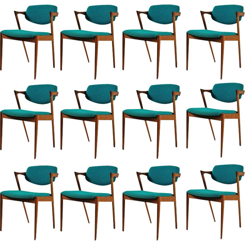 Set of 12 vintage dining chairs in teak by Kai Kristiansen for Schous Mobelfabrik 1960s