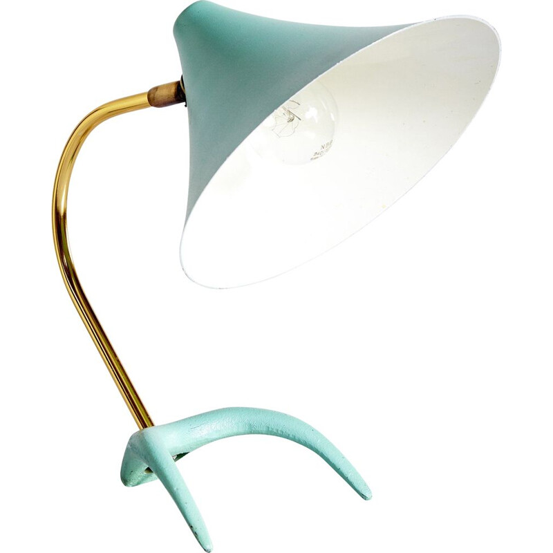 Vintage Turquoise Table Lamp with Crow Feet Louis Kalff for Philips 1950s