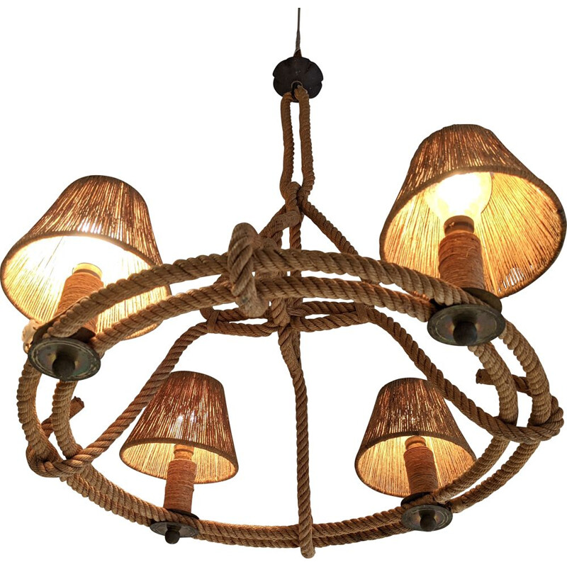 Vintage rope chandelier by Audoux and Minet 1950s