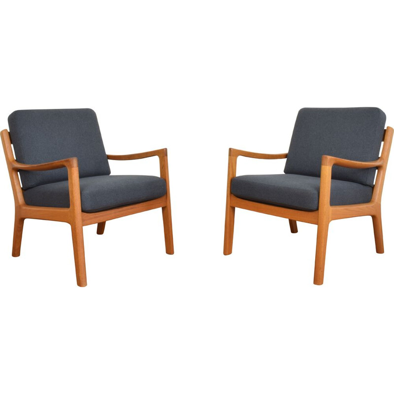 Pair of vintage Teak Armchairs by Ole Wanscher for Poul Jeppesens Mobelfabrik, Danish 1950s