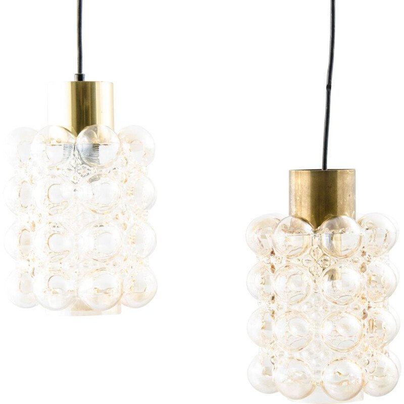 Pair of vintage Bubble Glass Ceiling Lamps by Helena Tynell & Heinrich Gantenbrink for Limburg 1960s