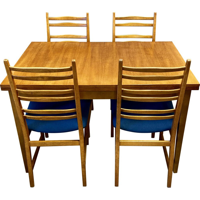Vintage teak high table and 4 chairs, Scandinave 1950s