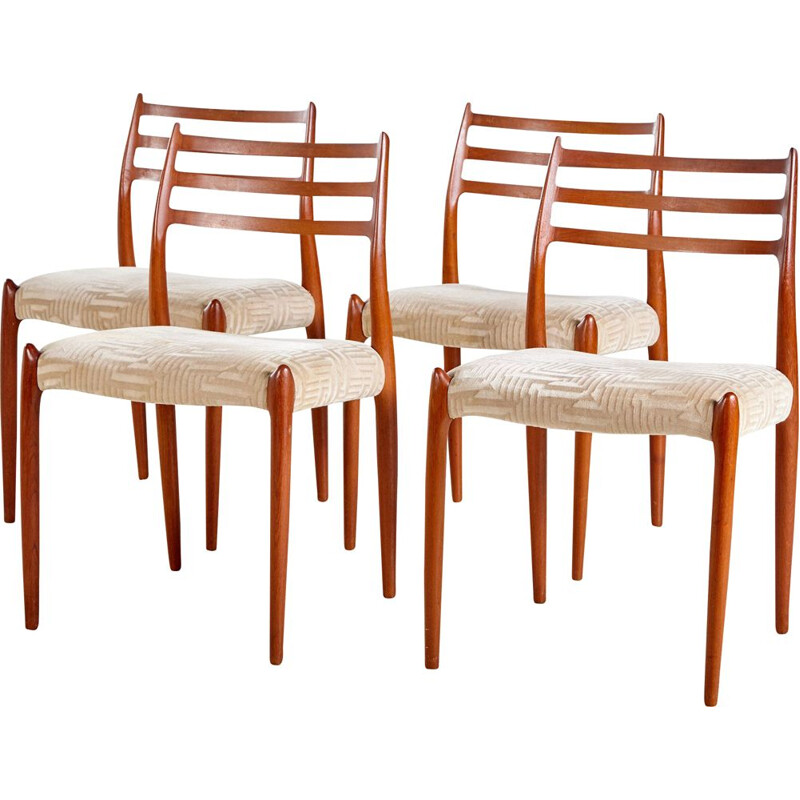 Set of 4 vintage Model 78 Teak Chairs by Niels Otto Moller for J.L. Mollers 1960s