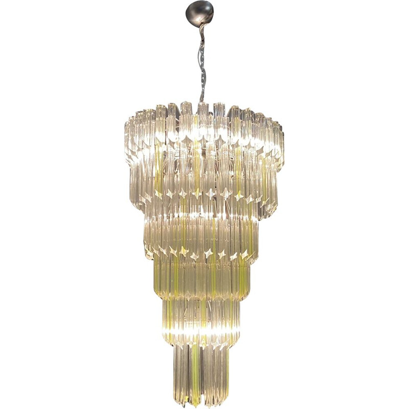 Large vintage Murano Glass Prism Chandelier by Venini 1970s