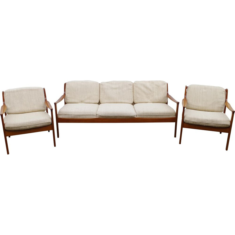 Vintage Cherrywood Living Room Set by Walter Knoll 1960s
