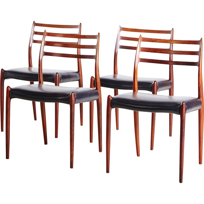 Set of 4 vintage Model 78 Dining Chairs by Niels O. Moller for J.L. Moller 1960s