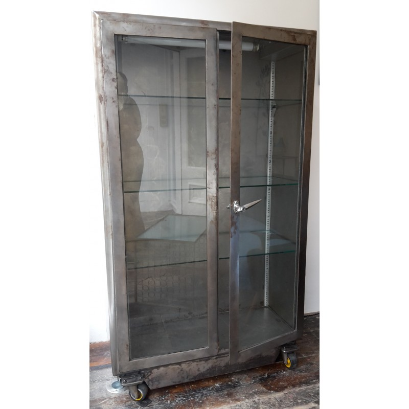 Vintage Industrial Cabinet With Glass Doors