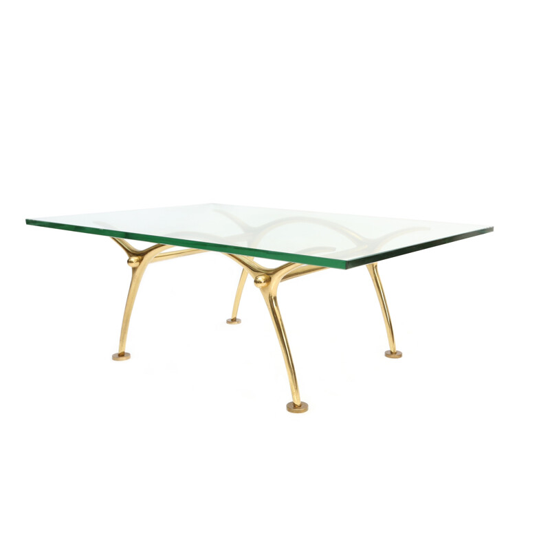 Coffee table in brass and galss, KOULOUFI - 1970s