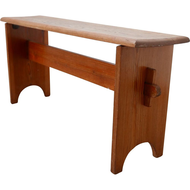 Vintage Pine Brutalist Low Bench, Swedish 1960s