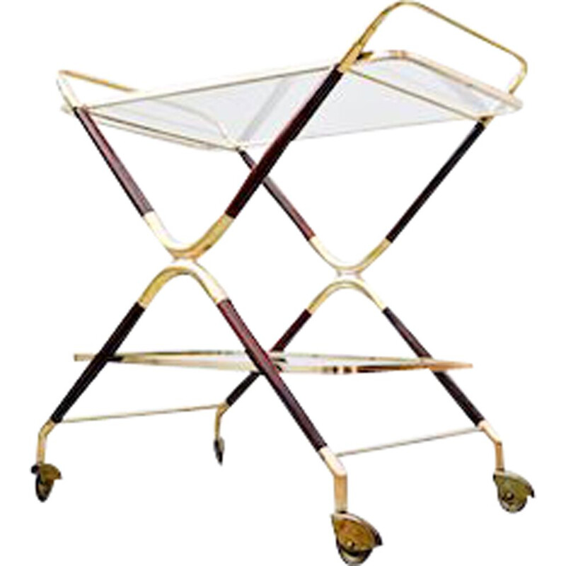 Vintage Glass and Brass Trolley by Cesare Lacca, Italian 1950s