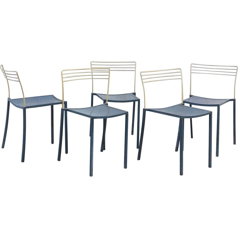 Set of 5 vintage Piccolo chairs by Pascal Mourgue for Fermob 1990s