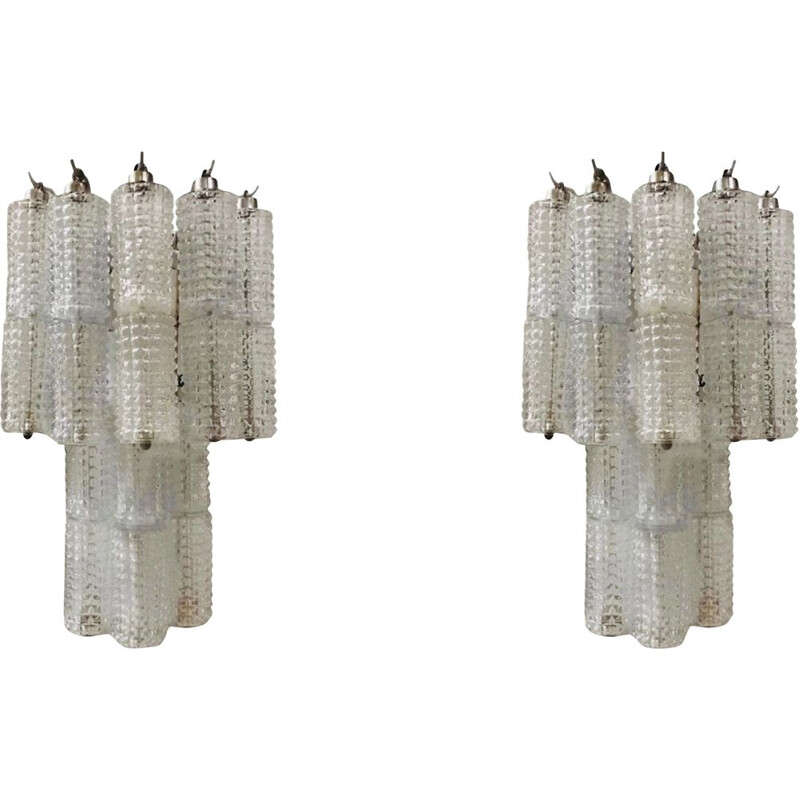 Pair of vintage Crystal Tube Sconces by Paolo Venini 1970s